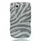 Hard Plastic Bling Rhinestone Design Case for Blackberry Torch 9800 - Silver Zebra