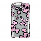 Hard Plastic Design Case for HTC Droid Eris 6200 - Silver and Pink Skulls