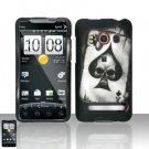 Hard Plastic Rubber Feel Design Full Case for HTC Evo 4G - Ace of Spade Skull