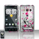 Hard Plastic Rubber Feel Design Full Case for HTC Evo 4G - Pink and Silver Flowers