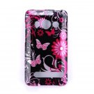 Hard Plastic Design Full Case for HTC Evo 4G - Pink Butterfly
