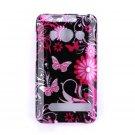 Hard Plastic Design Full Case for HTC Evo 4G - Pink Butterfly