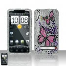 Hard Plastic Bling Rhinestone Design Case for HTC Evo 4G - Pink Butterfly