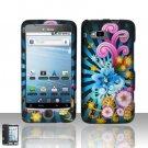 Hard Plastic Rubber Feel Design Case for HTC G2 - Rainbow Flowers