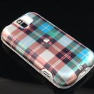 Hard Plastic Design Case for HTC Mytouch Slide 3G (T-Mobile) - Blue Check