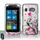 Hard Plastic Rubber Feel Design Case for HTC Surround - Silver and Pink Flowers