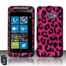 Hard Plastic Rubber Feel Design Case for HTC Surround - Hot Pink Leopard