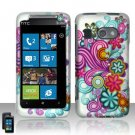 Hard Plastic Rubber Feel Design Case for HTC Surround - Purple and Blue Flowers