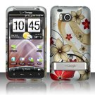 Hard Plastic Rubber Feel Design Case for HTC Thunderbolt 4G (Verizon) - Red and Gold Flowers