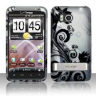Hard Plastic Rubber Feel Design Case for HTC Thunderbolt 4G (Verizon) - Silver and Black Vines