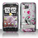 Hard Plastic Rubber Feel Design Case for HTC Thunderbolt 4G (Verizon) - Silver and Pink Flowers