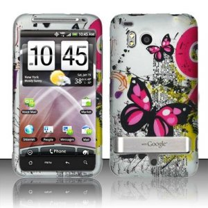 Hard Plastic Rubber Feel Design Case for HTC Thunderbolt 4G (Verizon) - Silver Butterfly