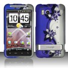 Hard Plastic Rubber Feel Design Case for HTC Thunderbolt 4G (Verizon) - Silver and Purple Vines