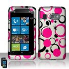 Hard Plastic Rubber Feel Design Case for HTC Surround - Pink and Black Dots