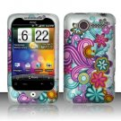 Hard Plastic Rubber Feel Design Case for HTC Wildfire 6225 - Purple and Blue Flowers