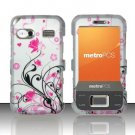 Hard Plastic Rubber Feel Design Case for Huawei M750 - Silver and Pink Flowers