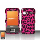 Hard Plastic Rubber Feel Design Case for Huawei M750 - Hot Pink Leopard