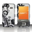 Hard Plastic Rubber Feel Design Case for Huawei M750 - Silver and Black Vines
