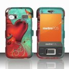 Hard Plastic Rubber Feel Design Case for Huawei M750 - Red Hearts