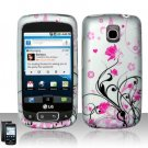 Hard Plastic Rubber Feel Design Case for LG Optimus T - Silver and Pink Flowers