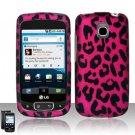 Hard Plastic Rubber Feel Design Case for LG Optimus T - Hot Pink Leopard
