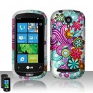 Hard Plastic Rubber Feel Design Case for LG Quantum C900 - Purple and Blue Flowers