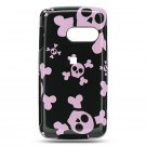 Hard Plastic Design Case for LG Rumor Touch LN510 - Black and Pink Skulls