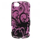 Hard Plastic Design Case for LG Sentio GS505 - Purple Swirls