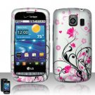 Hard Plastic Rubber Feel Design Case for LG Vortex VS660 - Silver and Pink Flowers