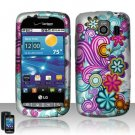 Hard Plastic Rubber Feel Design Case for LG Vortex VS660 - Purple and Blue Flowers