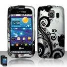Hard Plastic Rubber Feel Design Case for LG Vortex VS660 - Black and Silver Vines