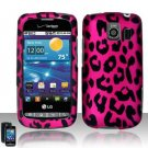 Hard Plastic Rubber Feel Design Case for LG Vortex VS660 - Hot Pink Leopard