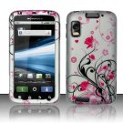 Hard Plastic Rubber Feel Design Case for Motorola Atrix 4G MB860 - Pink and Silver Flowers