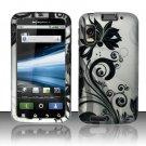 Hard Plastic Rubber Feel Design Case for Motorola Atrix 4G MB860 - Black and Silver Vines