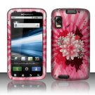 Hard Plastic Rubber Feel Design Case for Motorola Atrix 4G MB860 - Pink Flower Blossom