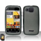 Hard Plastic Rubber Feel Design Case for Motorola Citrus WX445 - Carbon Fiber