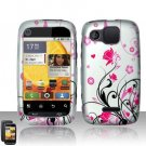 Hard Plastic Rubber Feel Design Case for Motorola Citrus WX445 - Silver and Pink Flowers