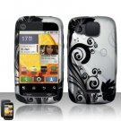 Hard Plastic Rubber Feel Design Case for Motorola Citrus WX445 - Silver and Black Vines