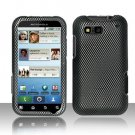 Hard Plastic Rubber Feel Design Case for Motorola Defy MB525 - Carbon Fiber