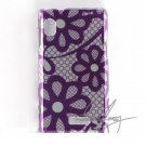 Hard Plastic Design Case for Motorola Droid 2 A955 - Purple Flower Lace