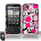 Hard Plastic Rubber Feel Design Case for Motorola Droid Pro T610 - Black and Pink Dots