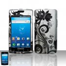 Hard Plastic Rubber Feel Design Case for Samsung Captivate i897 - Black and Silver Vines