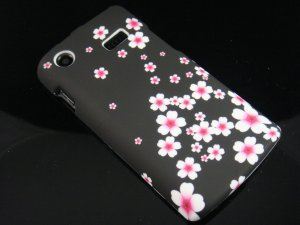 Hard Plastic Rubber Feel Design Case for Samsung Captivate i897 - Cherry Blossom