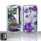 Hard Plastic Rubber Feel Design Case for Samsung Epic 4G - Purple Flowers