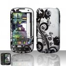 Hard Plastic Rubber Feel Design Case for Samsung Epic 4G - Silver and Black Vines