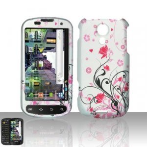 Hard Plastic Rubber Feel Design Case for Samsung Epic 4G - Silver and Pink Flowers