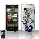 Hard Plastic Rubber Feel Design Case for Samsung Fascinate i500 - Silver and Purple Garden