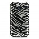 Hard Plastic Design Cover Case for Samsung Galaxy Indulge R910 - Silver and Black Zebra