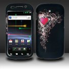 Hard Plastic Rubber Feel Design Case for Samsung Nexus S i920 - Royal Heart