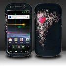 Hard Plastic Rubber Feel Design Case for Samsung Nexus S i920 - Royal Heart